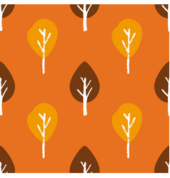 seamless autumn pattern with hand draw tree vector image
