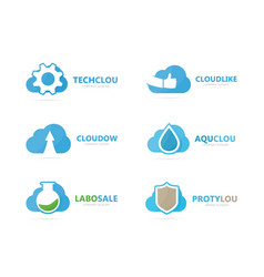 set of cloud logo combination loading and vector image