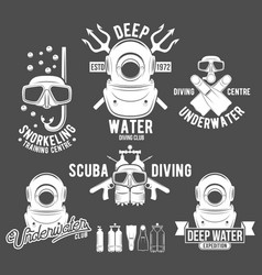 Set of diving vintage labels and logos vector