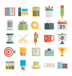 set office icons in flat design vector image