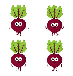 set with cartoon beets vector image