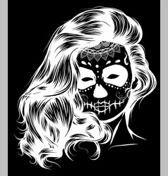 silhouette black and white skull candy girl vector image