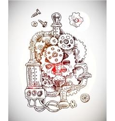 Sketch steampunk mechanism vector