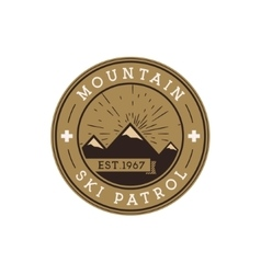 Ski patrol round label vintage mountain winter vector
