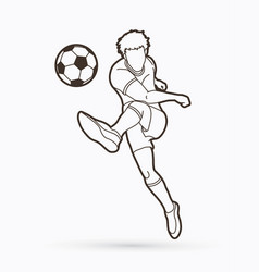 soccer player shooting a ball action outline vector image
