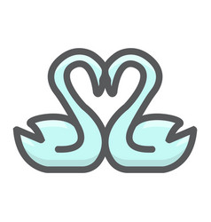 swans in love filled outline icon valentines day vector image