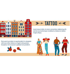 tattoo people cartoon flat vector image