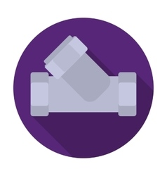 Tee plumbing fitting icon in flat style isolated vector