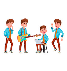 teen boy poses set face children for web vector image