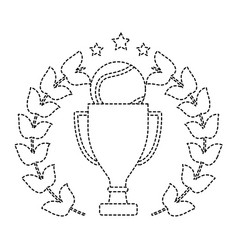 tennis trophy ball wreath award sport vector image