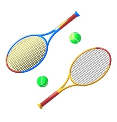 Two tennis racket and ball vector