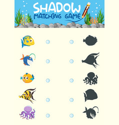 Underwater shadow matching game template vector