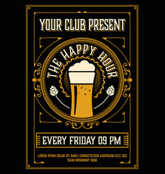 Vintage happy hour poster layout vector