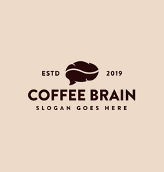 vintage label coffee and brain logo icon template vector image