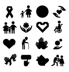 volunteer silhouettecharity donation set vector image