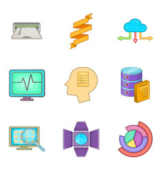 Web network icons set cartoon style vector