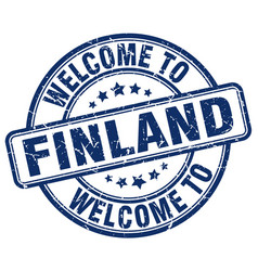 welcome to finland blue round vintage stamp vector image