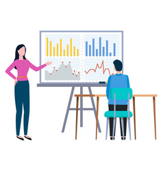 woman reporting about business statistics on board vector image