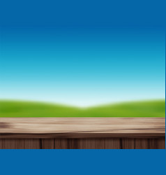 wood table top and blurred blue sky landscape vector image