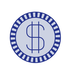blue silhouette of coin with money symbol vector image vector image