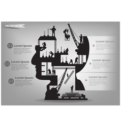 Building construction workers in sIlhouette head vector image