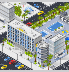 City landscape with hotels pools and car parking vector