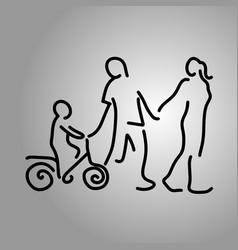 family holding hand with a boy on bicycle vector image