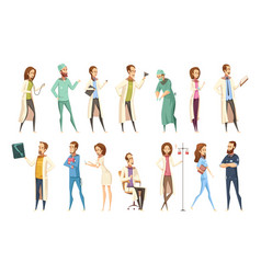 nurse characters set cartoon retro style vector image