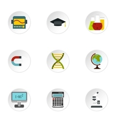 Scientific research icons set flat style vector