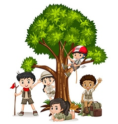 Boys and girls climbing tree vector image
