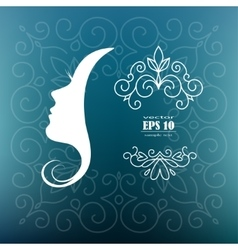 card with the profile of woman vector image vector image