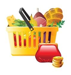 full shopping basket and wallet - saving money vector image vector image