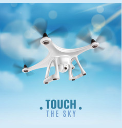 realistic drone in sky vector image