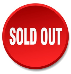 sold out red round flat isolated push button vector image vector image