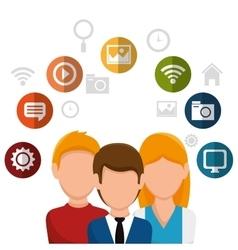 Team social network people vector