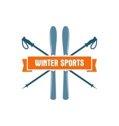 Winter sports label vintage mountain explorer vector