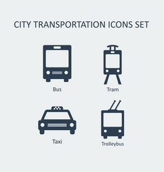 city transportation silhouette icons set vector image