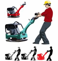 construction worker with compactor vector image vector image
