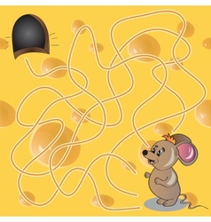 Maze or Labyrinth Game with Funny Mouse vector image vector image