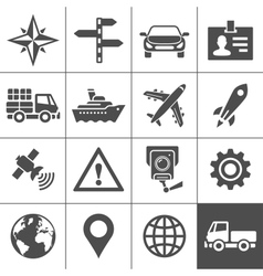 Transportation icons set Simplus series vector image vector image