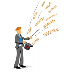 businessman showing magic vector image vector image