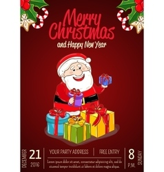 Merry christmas placard for holiday party ad vector