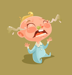 sad unhappy naughty little child character vector image