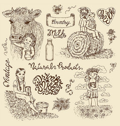 vintage design set with kids drinking milk and cow vector image