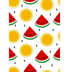 watermelon and sun seamless background vector image