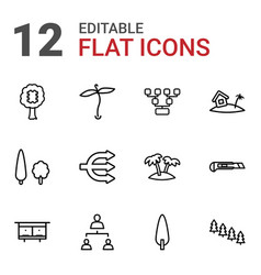 12 tree icons vector image