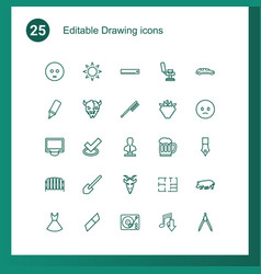 25 drawing icons vector