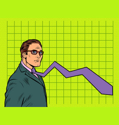 A businessman with a falling schedule vector