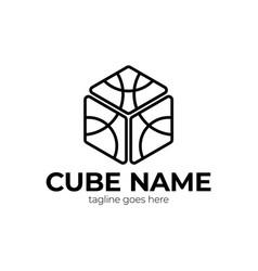abstract cube logo cube colorful logo design vector image