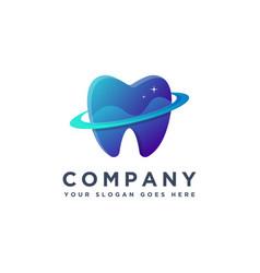 abstract modern dental planet teeth logo icon vector image